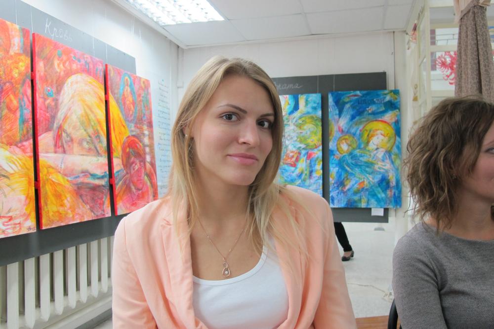 Преподаватель школы на выставке проекта Uomo Aeterno